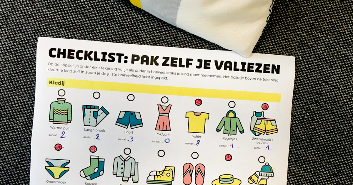 Veel kinderen vertrekken eerstdaags op kamp.  Met deze checklist van Klasse wordt valiezen pakken een makkie :)